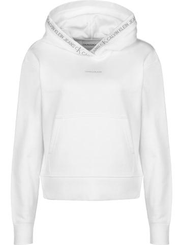 CALVIN KLEIN JEANS Hoodie Logo Trim in bright white