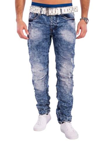 Jeansnet Jeans Hose Acid Washed in Dunkelblau