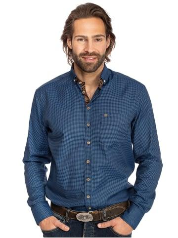 OS-Trachten Karo Langarmhemd 420001-3633-42 blau
