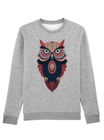 Wat? Apparel Sweatshirt Colorful Owl in Grau meliert