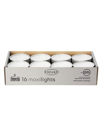 Edzard Teelicht Maxiteelicht 16 Stück in Weiß, Durchmesser 5,8cm, Höhe 2,5cm