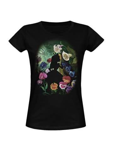 Disney Alice in Wonderland  T-Shirt Black Flower in schwarz