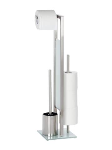 Wenko Stand WC-Garnitur Rivalta Edelstahl Matt, integrierter Toilettenpapierhalter und WC-Bürstenhalter, rostfrei in Silber Matt