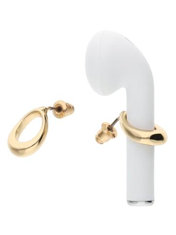 Six AirPods©* Halter in Form von Ohrringen ovales Design in goldfarben