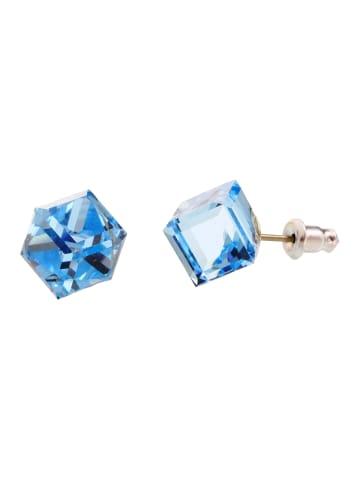 "Exclusive Edition  Ohrringe ""Cubik Screw"" mit Swarovski Kristallen in Aquamarine"