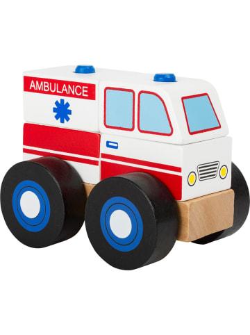 Small foot Konstruktionsfahrzeug Krankenwagen in holz, rot, schwarz, weiß