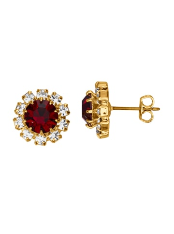 Golden Style Ohrstecker mit Kristallen in Rot