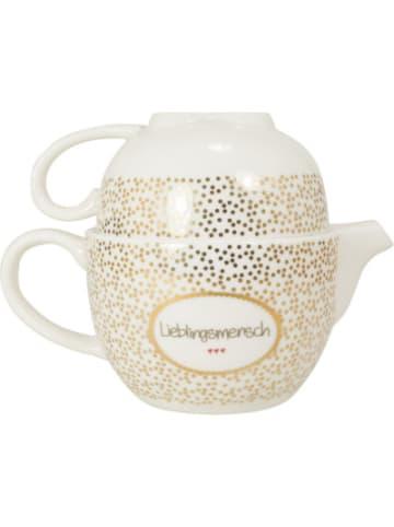 """Mea Living Teekanne und Tasse mit Golddruck """"Lieblingsmensch"""""""