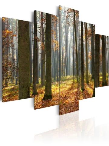 Artgeist Wandbild Malerische Waldlandschaft in Grün,Orange,Braun