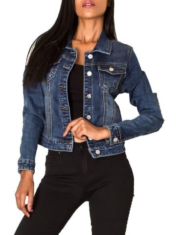 Nina Carter Jeans Jacke Kurze Übergangsjacke Denim Weste in Dunkelblau
