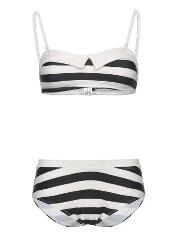 Pussy Deluxe Bikini Big Party Stripes in schwarz/creme