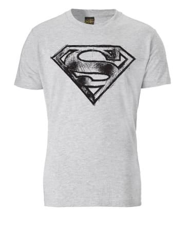 Logoshirt T-Shirt SUPERMAN - LOGO SCRIBBLE in grau meliert