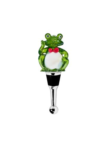 Edzard Flaschenverschluss Frosch in Bunt, Muranoglas-Art Höhe 11 cm