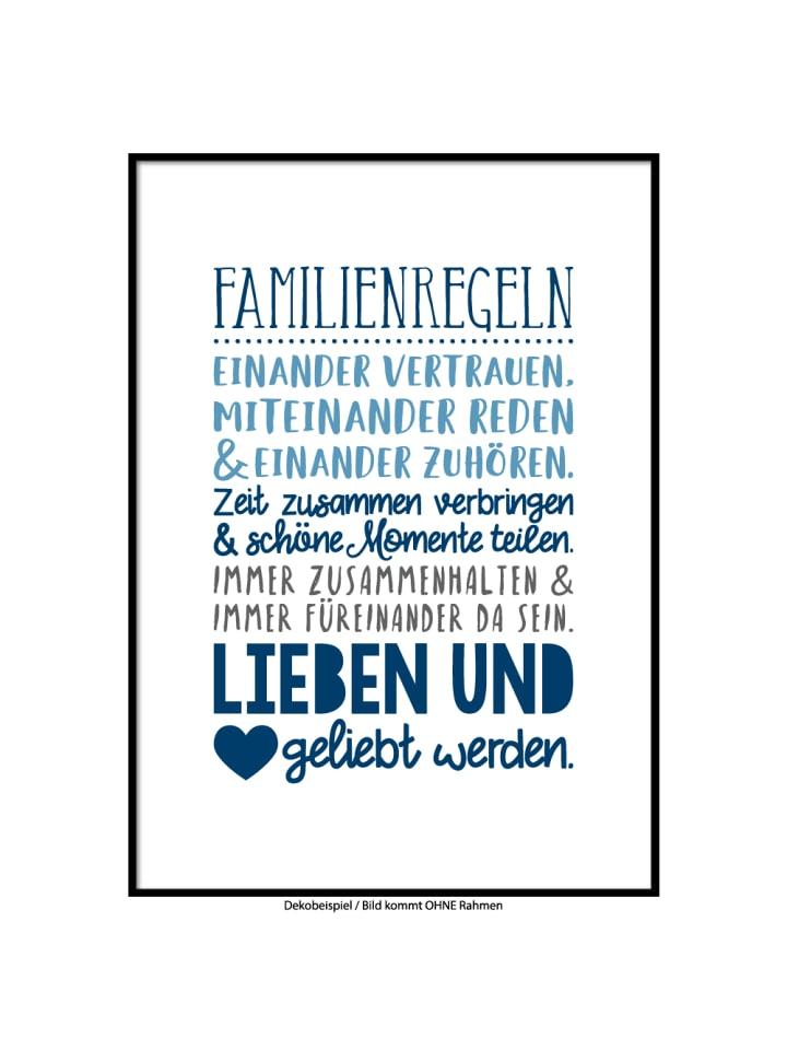 Kunstdruck Poster Familienregeln Col2 A4 Oder A3