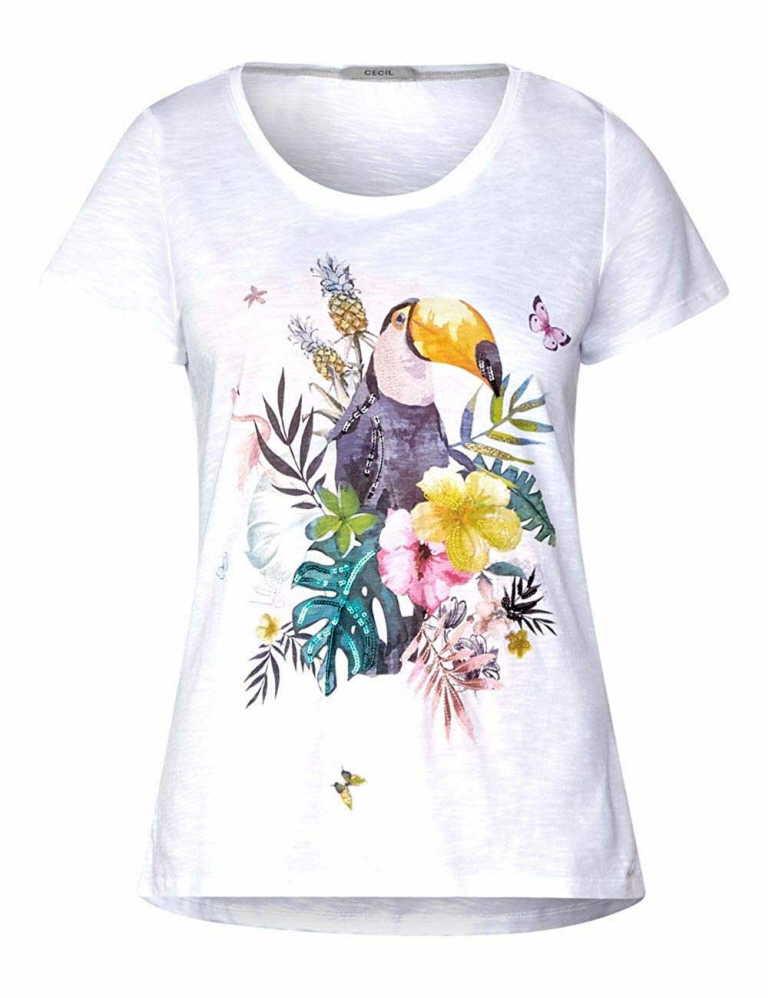 Cecil Rundhals T-Shirt in weiß günstig kaufen