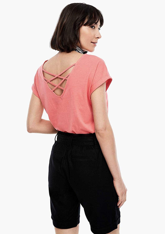 S. Oliver Rundhals T-Shirt in rot günstig kaufen