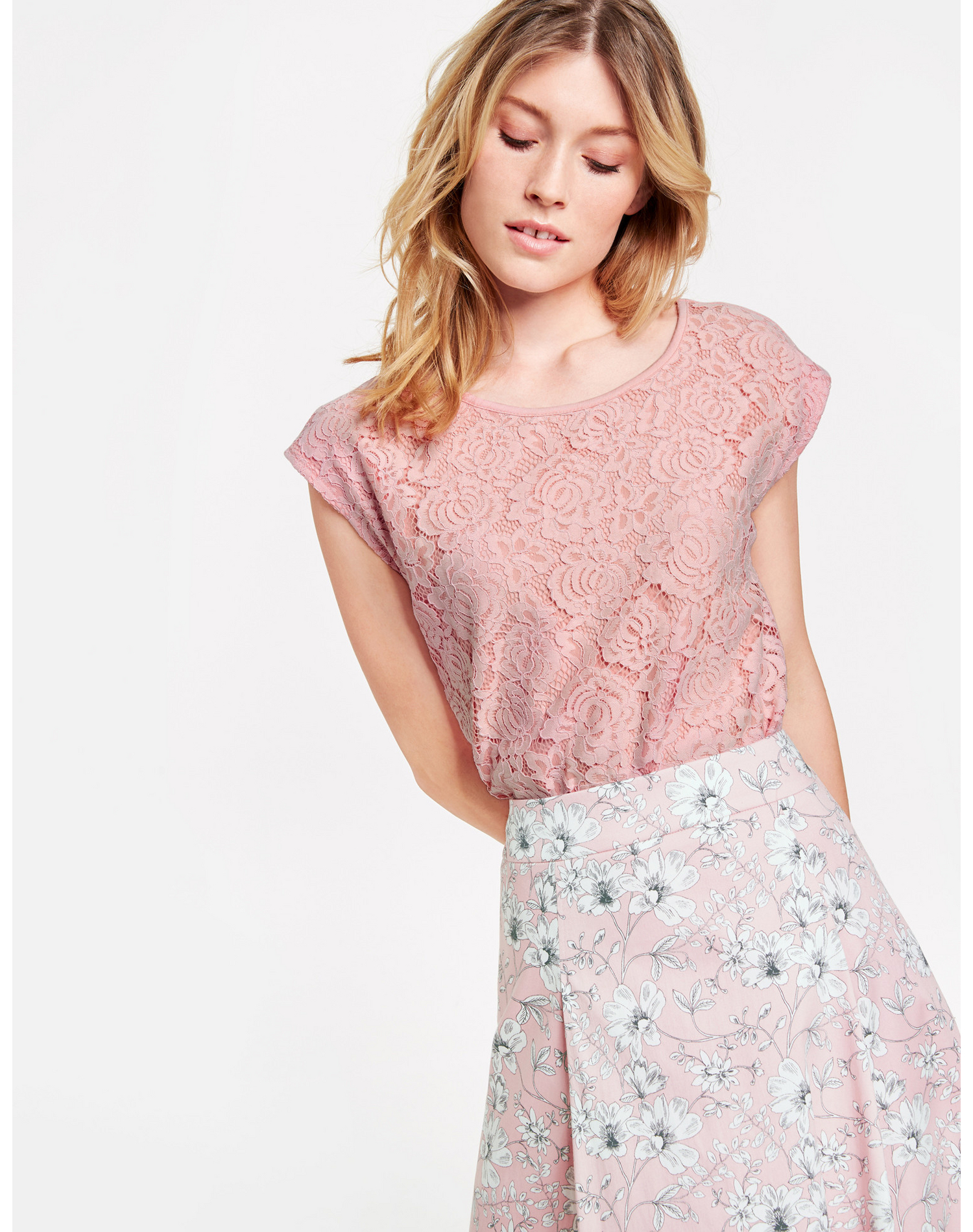 TAIFUN T-Shirt Kurzarm Rundhals in Pink günstig kaufen