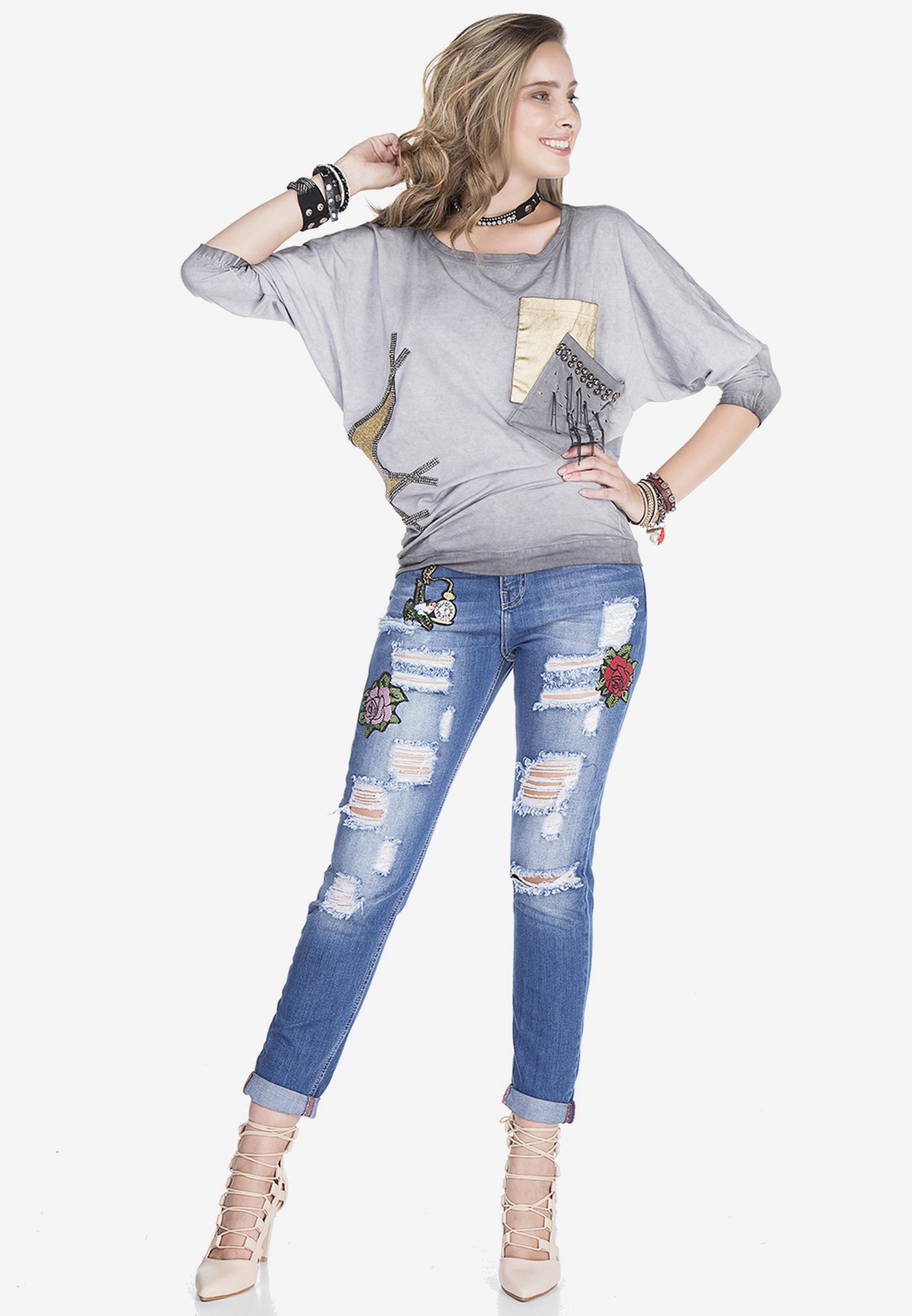 Cipo & Baxx Langarmshirt in Anthracite günstig kaufen