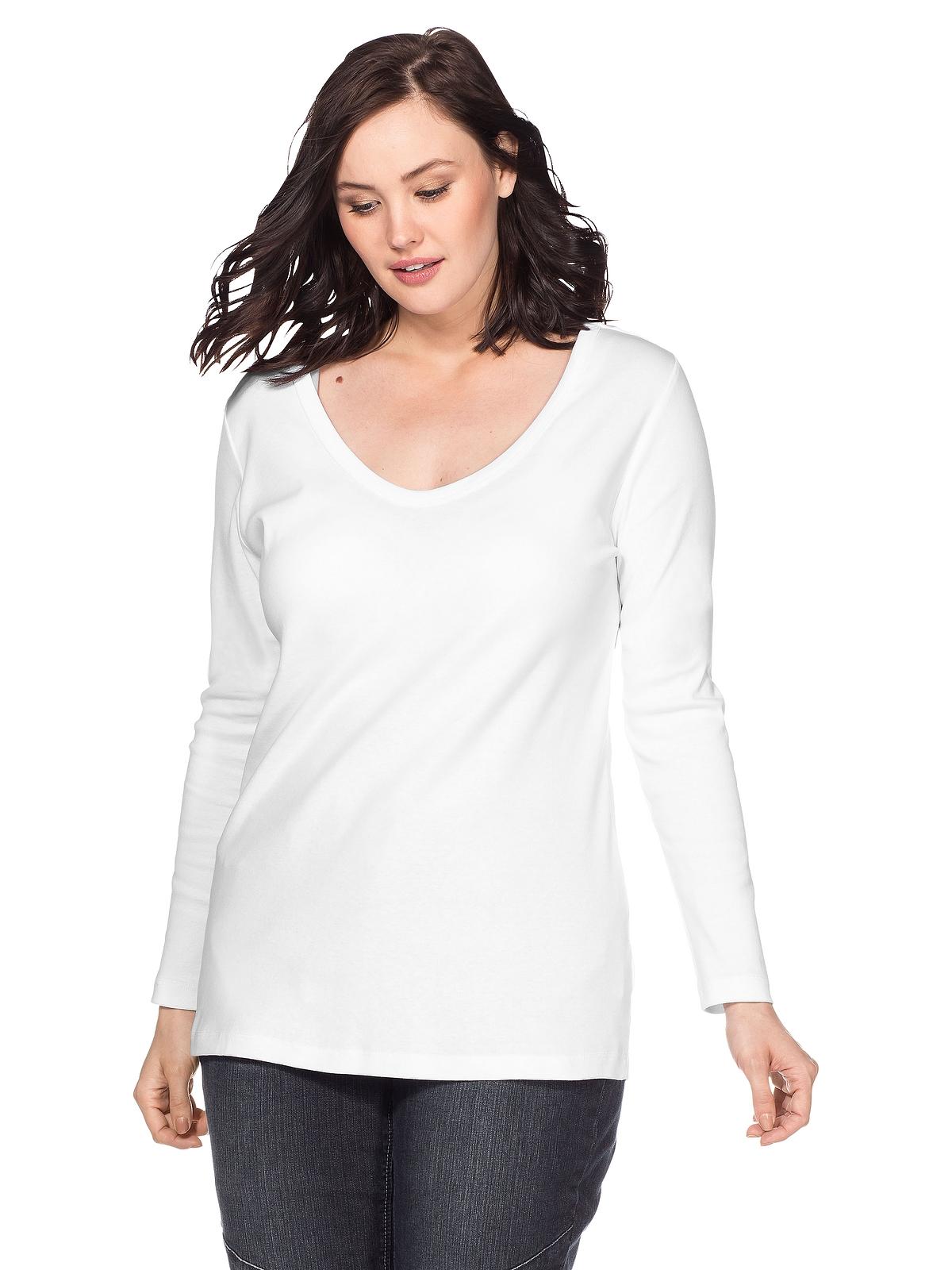 Sheego Langarmshirt in weiß günstig kaufen