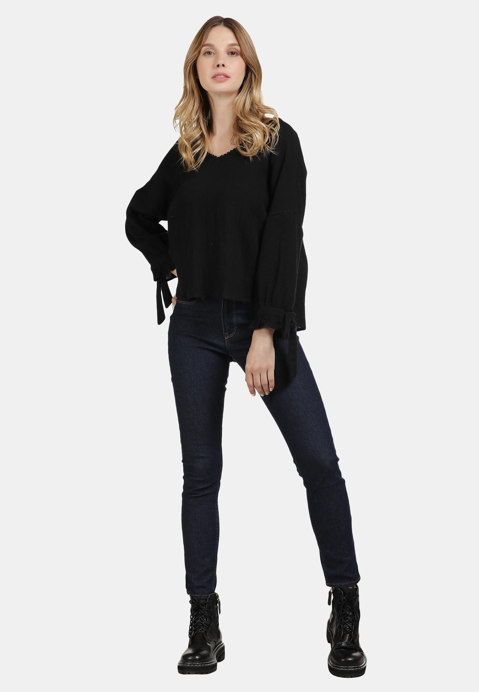 DreiMaster Vintage Bluse in schwarz günstig kaufen