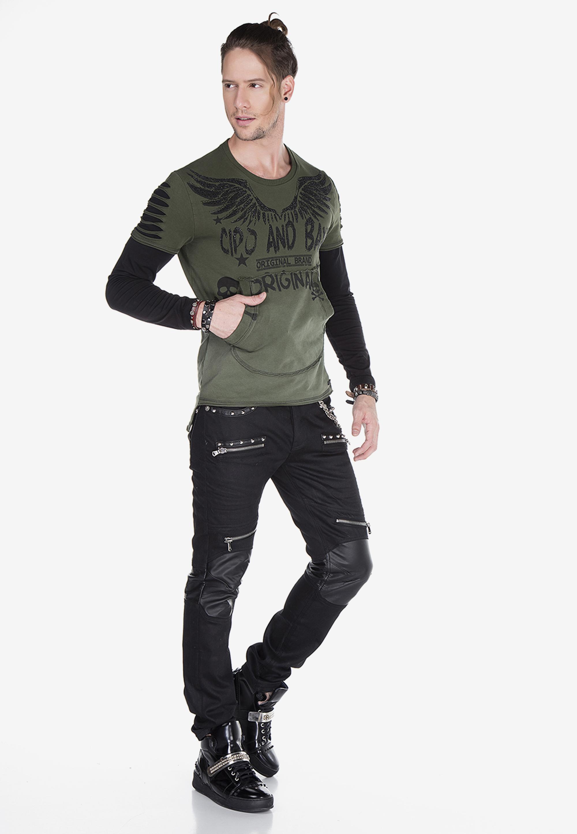 Cipo & Baxx Langarmshirt 2In1 Torn in Khaki günstig kaufen