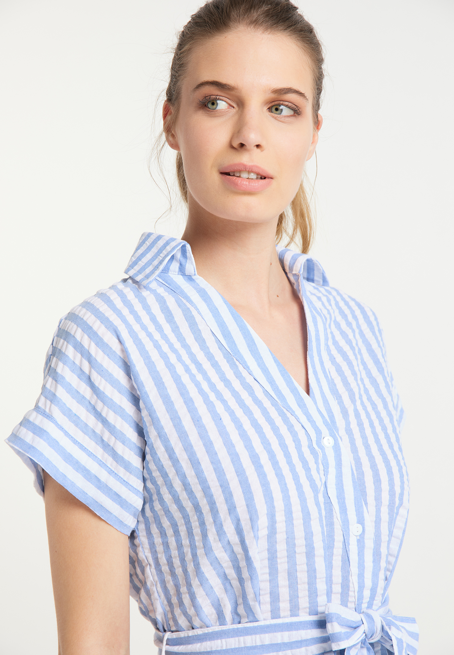 DreiMaster Maritim Hemdbluse in weiss hellblau günstig kaufen
