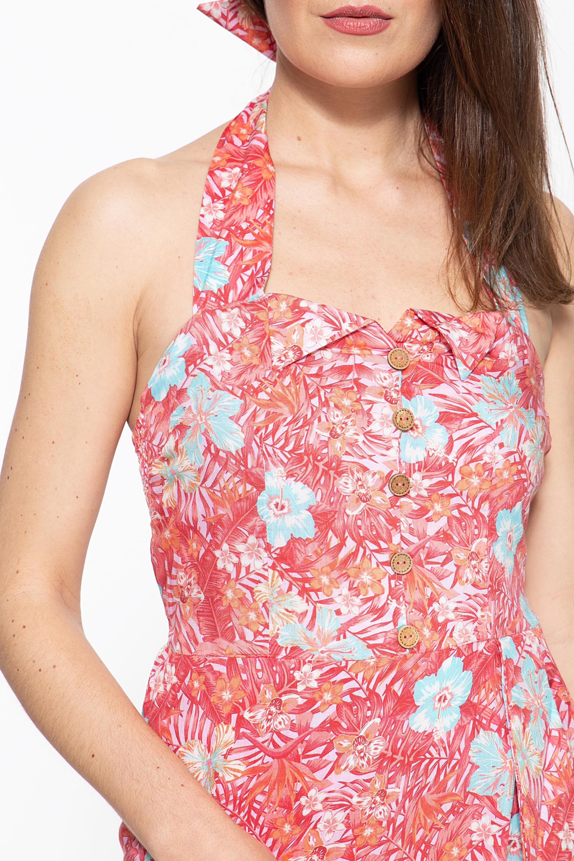 Queen Kerosin Sommerkleid mit tropischem Muster in rot günstig kaufen