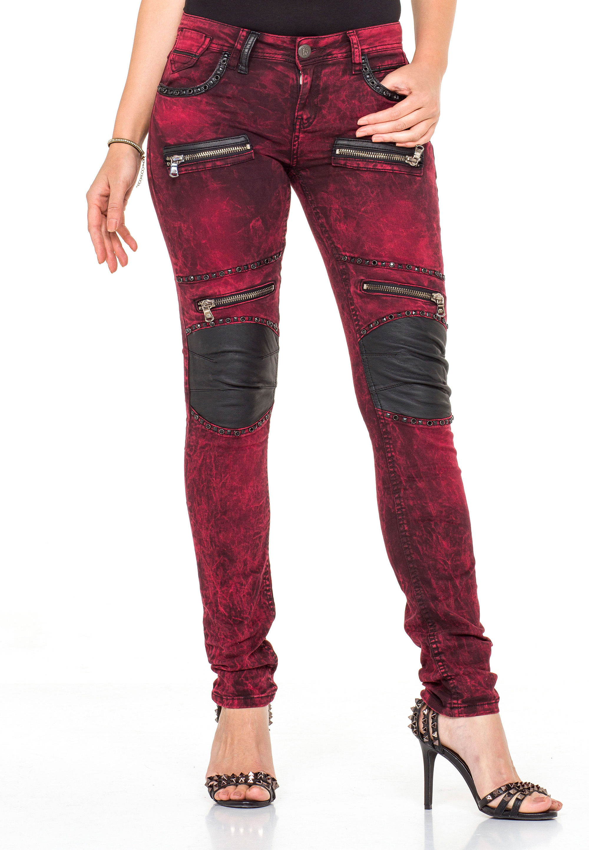 Cipo & Baxx Jeans in Burgundy günstig kaufen
