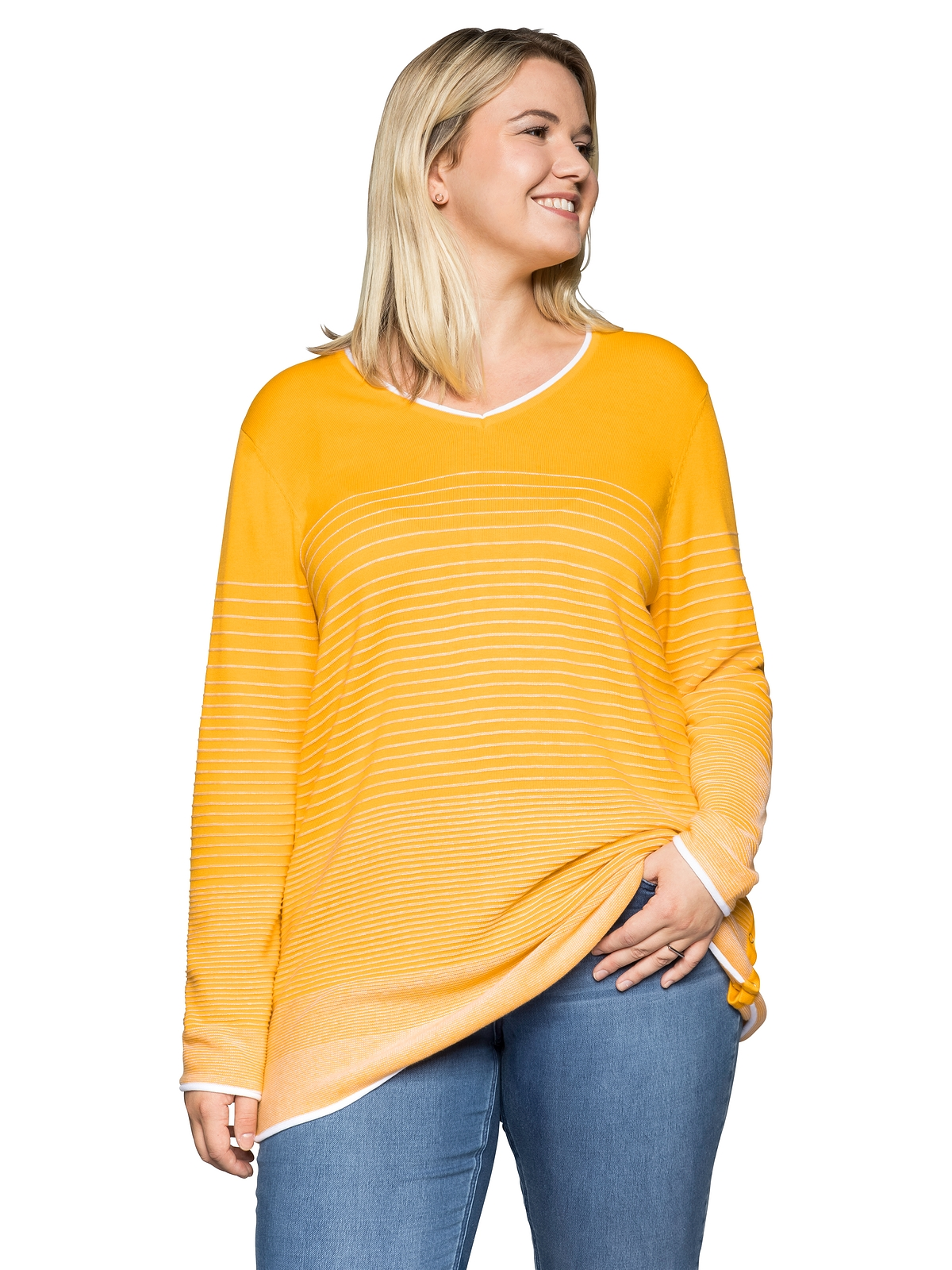 Sheego Pullover in gelb-weiß günstig kaufen