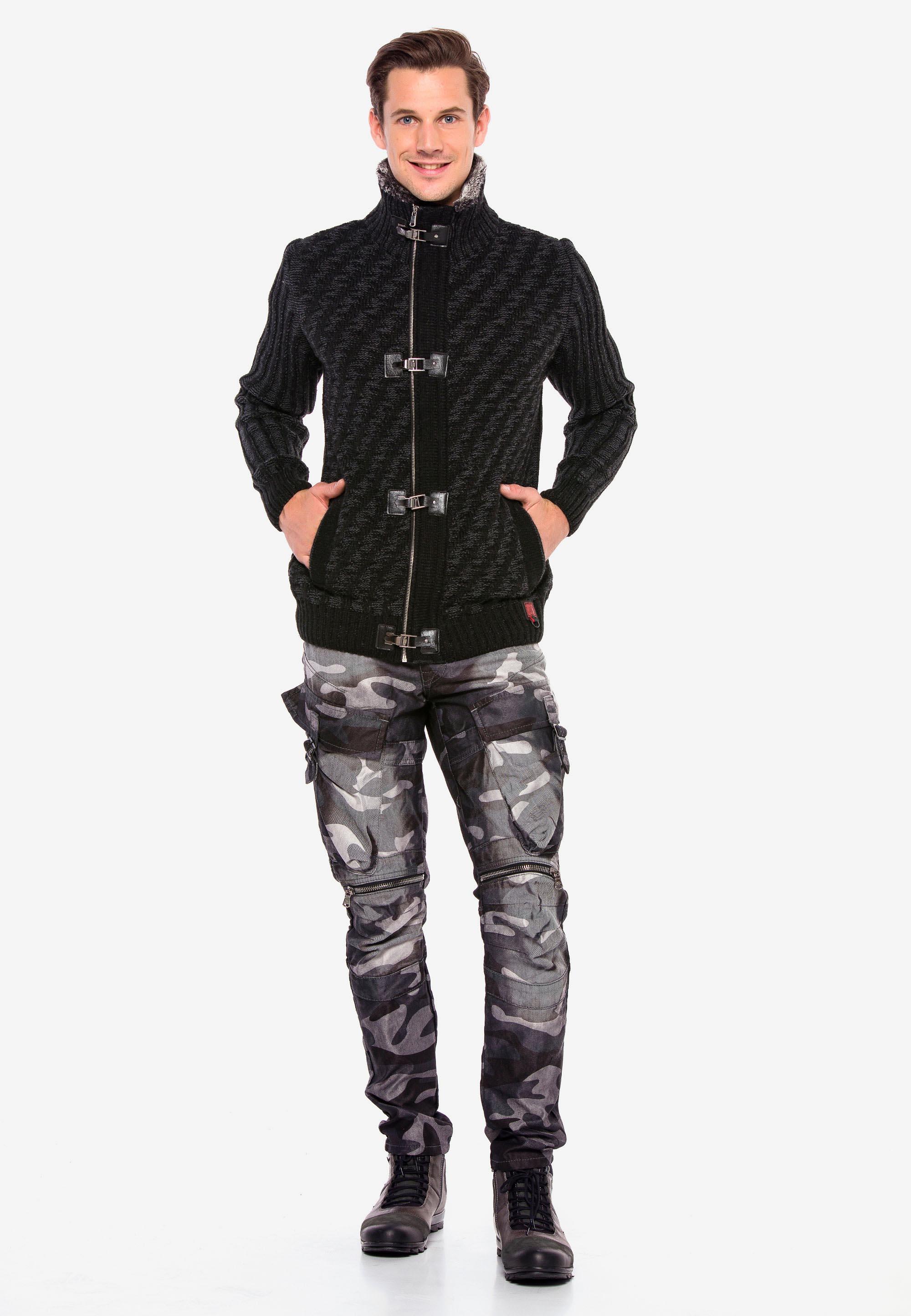 Cipo & Baxx Cargojeans Guardian in Anthrazit Camouflage günstig kaufen