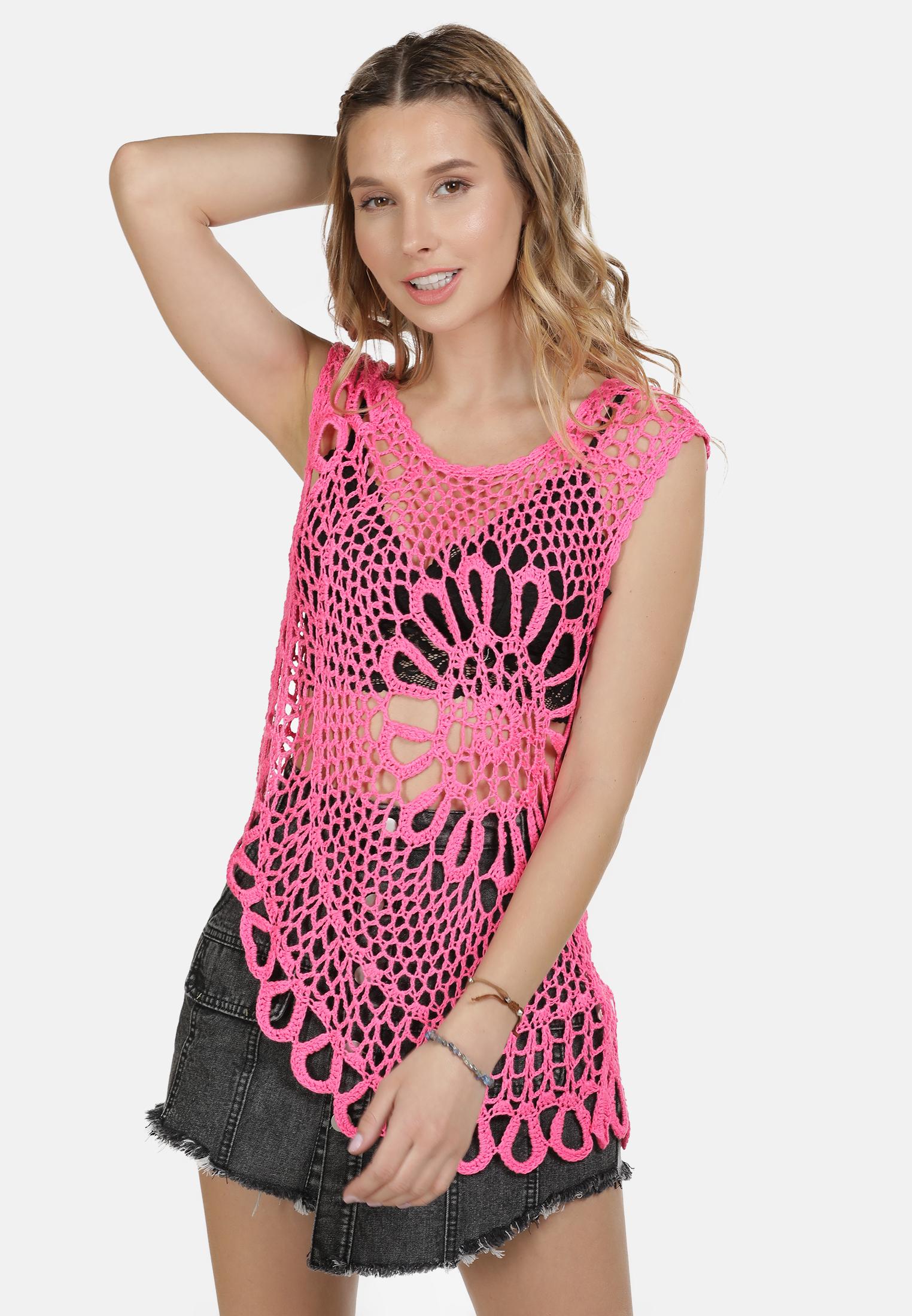 IZIA Häkeltop in neon pink günstig kaufen