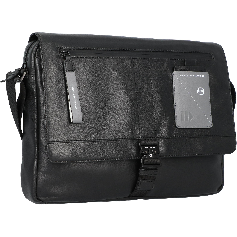 Piquadro Explorer Messenger Leder 37 cm Laptopfach in black günstig kaufen