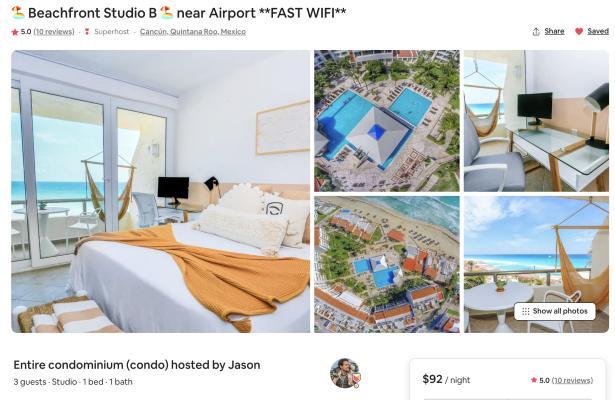 10-Cap Airbnb Condos in Cancun, MX - 100% Remote