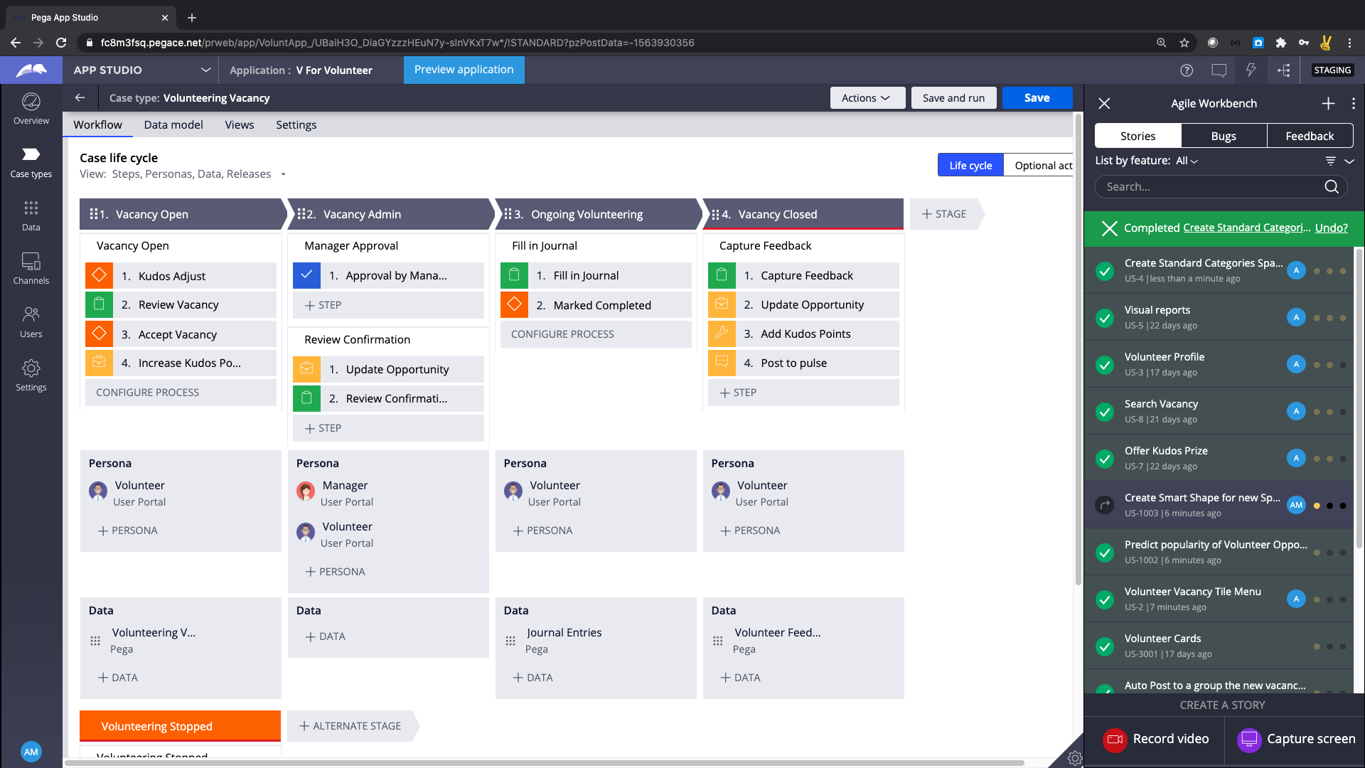 Pega App Studio View of Microjourney and Personas in V For Volunteer