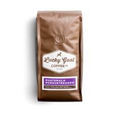 Bag of whole bean Guatemala Huehuetenango coffee, roasted by Lucky Goat Coffee Co.