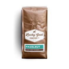 Bag of whole bean Hazelnut coffee, roasted by Lucky Goat Coffee Co.