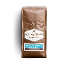 Bag of whole bean Black Gold French Roast coffee, roasted by Lucky Goat Coffee Co.