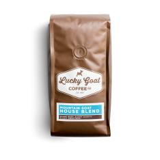Bag of whole bean Mountain Goat House Blend coffee, roasted by Lucky Goat Coffee Co.