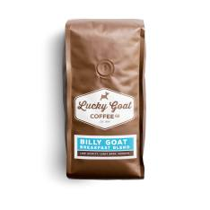 Bag of whole bean Billy Goat Breakfast Blend coffee, roasted by Lucky Goat Coffee Co.