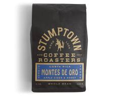 Bag of whole bean Costa Rica Montes De Oro coffee, roasted by Stumptown Coffee Roasters