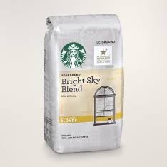 Bag of whole bean Bright Sky Blend coffee, roasted by Starbucks