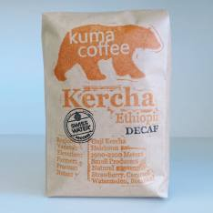 Bag of whole bean Ethiopia Kercha Decaf coffee, roasted by Kuma Coffee