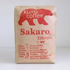 Bag of whole bean Ethiopia Sakaro coffee, roasted by Kuma Coffee