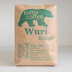 Bag of whole bean Ethiopia Wuri coffee, roasted by Kuma Coffee