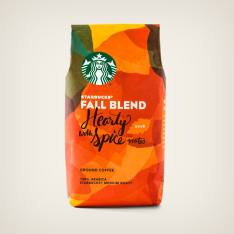 Bag of whole bean Fall Blend (2018) coffee, roasted by Starbucks