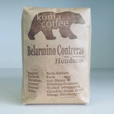 Bag of whole bean Honduras Belarmino Contreras coffee, roasted by Kuma Coffee