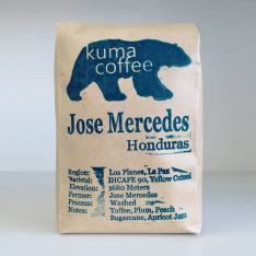 Bag of whole bean Honduras Jose Mercedes coffee, roasted by Kuma Coffee