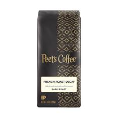 Bag of whole bean Decaf French Roast coffee, roasted by Peet's Coffee