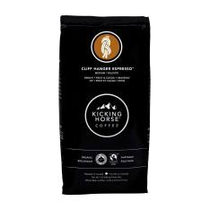 Bag of whole bean Cliff Hanger Espresso coffee, roasted by Kicking Horse Coffee