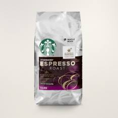 Bag of whole bean Espresso Roast coffee, roasted by Starbucks